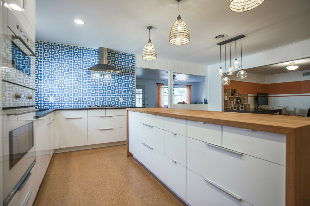 Ikea kitchen remodel, cozy modern kitchen, blue cement tile, fez tile, granada tile