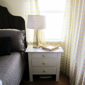 Nightstands, gray and yellow bedroom