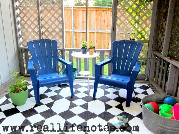 Backyard Back Porch, Geometric Black Rug