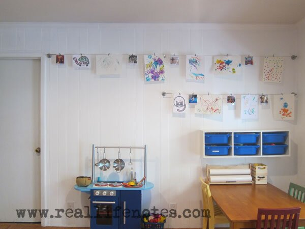 Rotating Kids Art Display with Ikea Supplies
