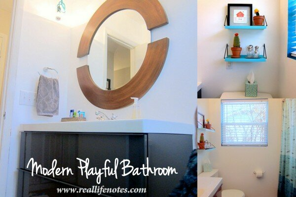 Modern Playful Bathroom, Teal Turquoise Bathroom, Kids Bathroom