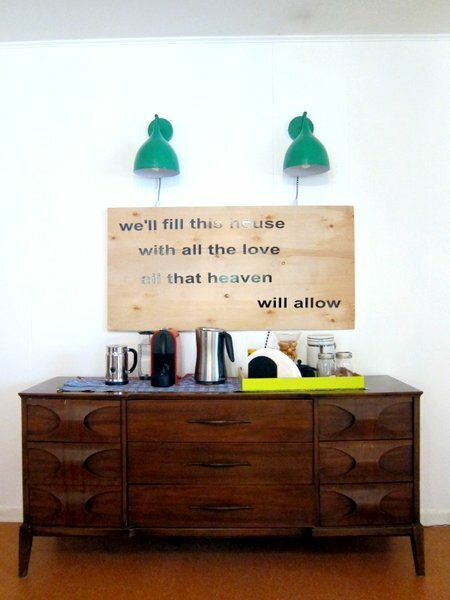 DIY Large Wall Art, Coffee Bar, Urban Outfitters Green Industrial Sconce